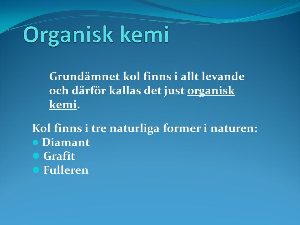 Kol finns i tre naturliga former i naturen: Diamant Grafit Fulleren