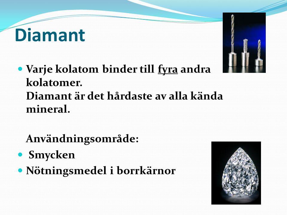 Diamant Varje kolatom binder till fyra andra kolatomer. Diamant är det hårdaste av alla kända mineral.