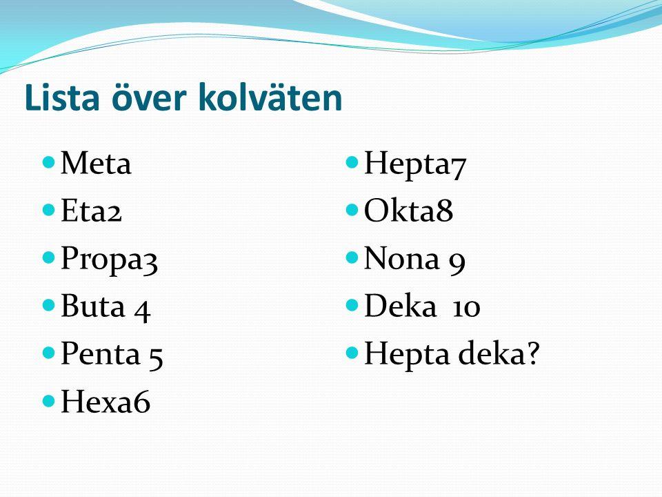 Lista över kolväten Meta Eta2 Propa3 Buta 4 Penta 5 Hexa6 Hepta7 Okta8