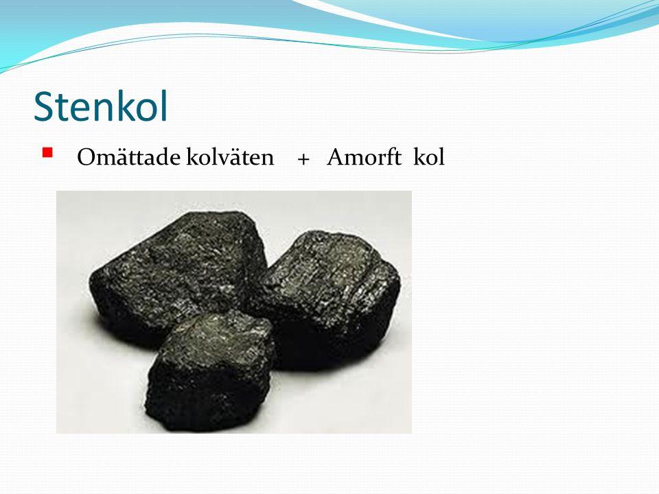 Stenkol Omättade kolväten + Amorft kol