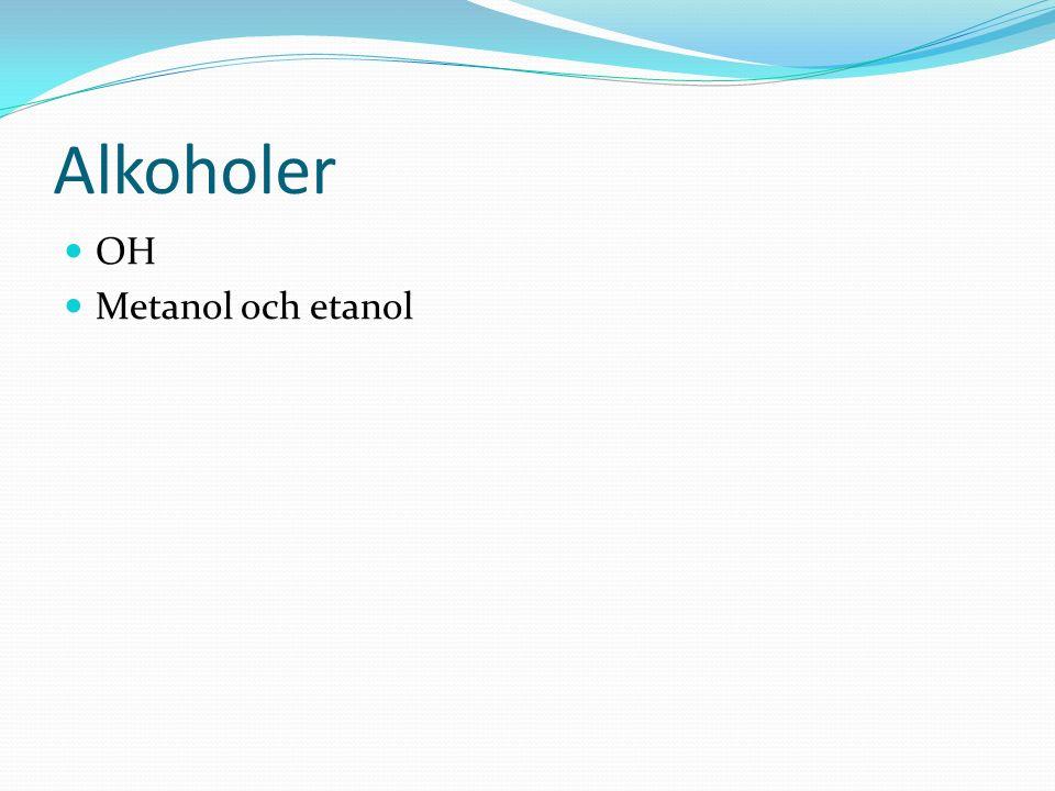 Alkoholer OH Metanol och etanol