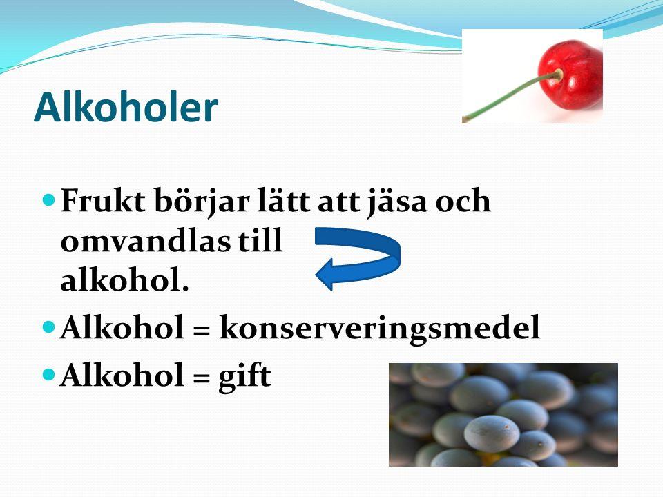 Alkoholer Frukt börjar lätt att jäsa och omvandlas till alkohol.
