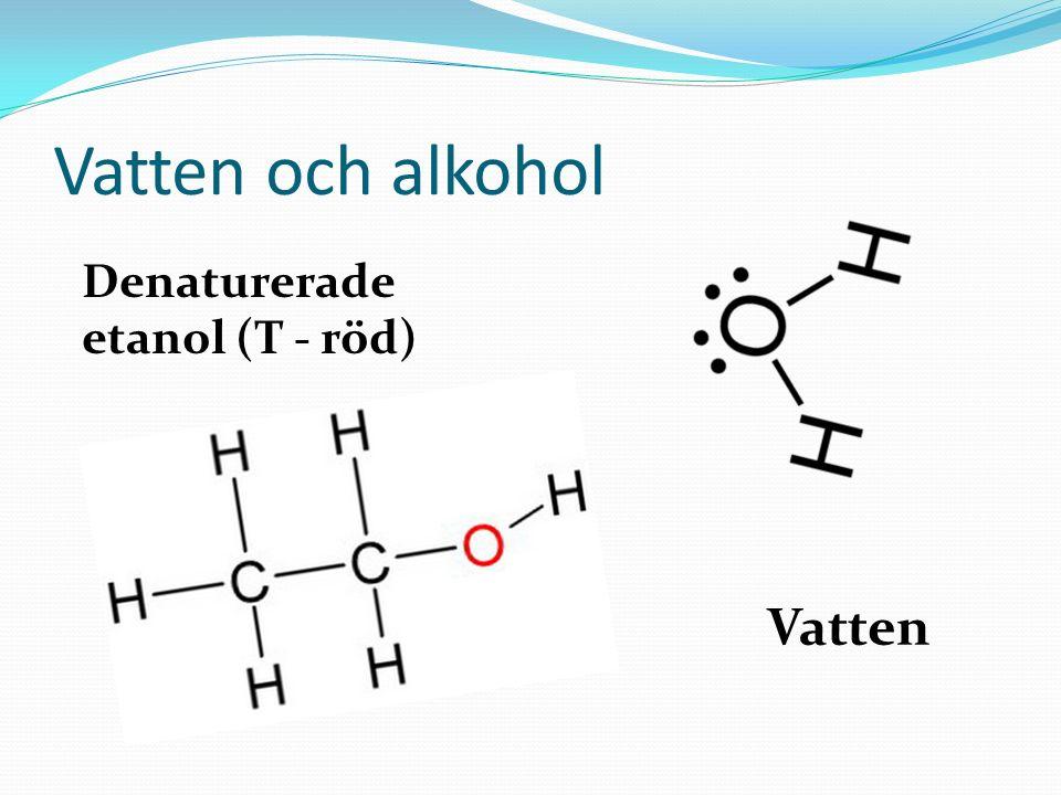 Vatten och alkohol Denaturerade etanol (T - röd) Vatten