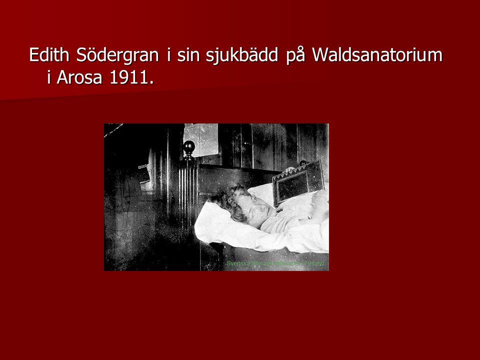 Edith Södergran i sin sjukbädd på Waldsanatorium i Arosa 1911.
