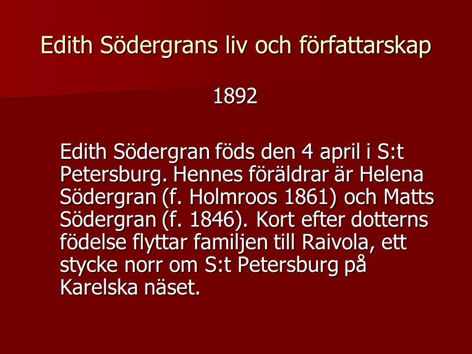 Edith Södergrans liv och författarskap