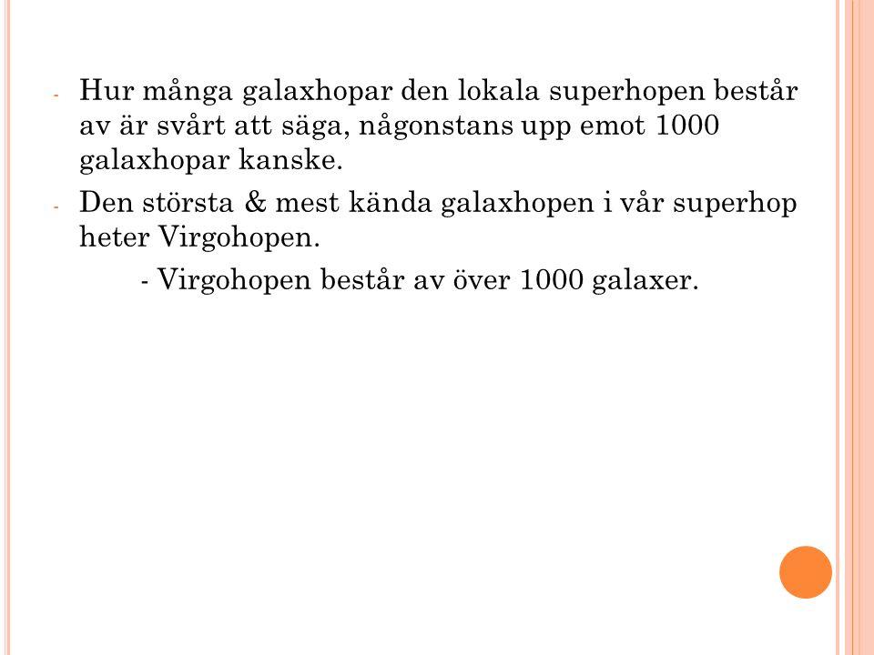 Hur många galaxhopar den lokala superhopen består av är svårt att säga, någonstans upp emot 1000 galaxhopar kanske.