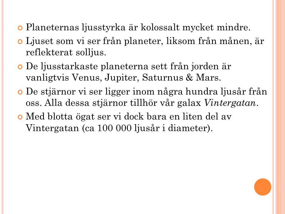 Planeternas ljusstyrka är kolossalt mycket mindre.