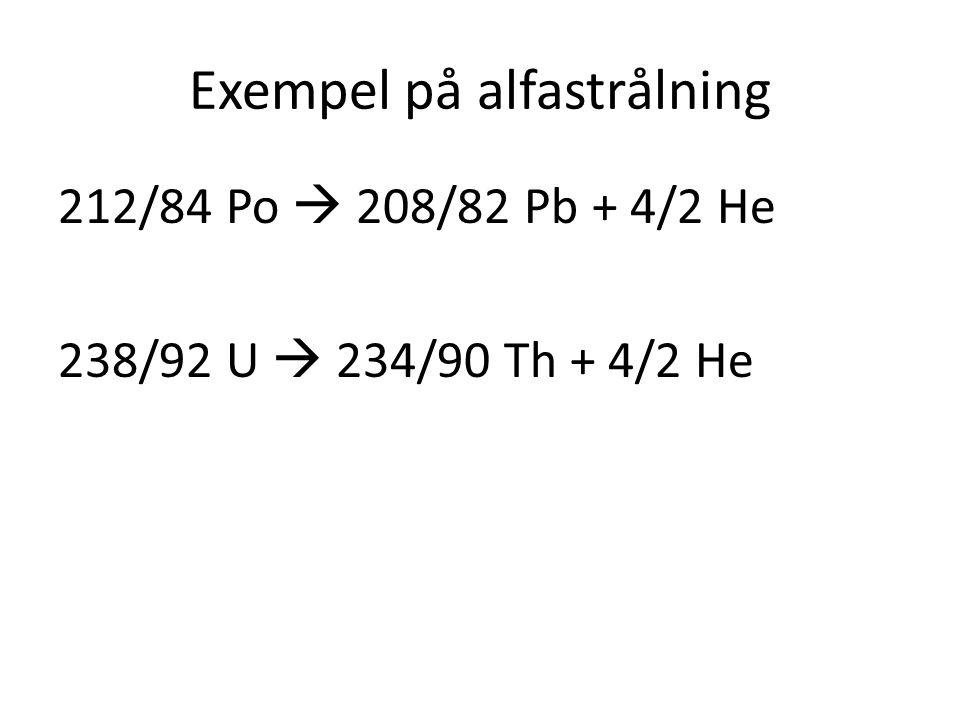 Exempel på alfastrålning