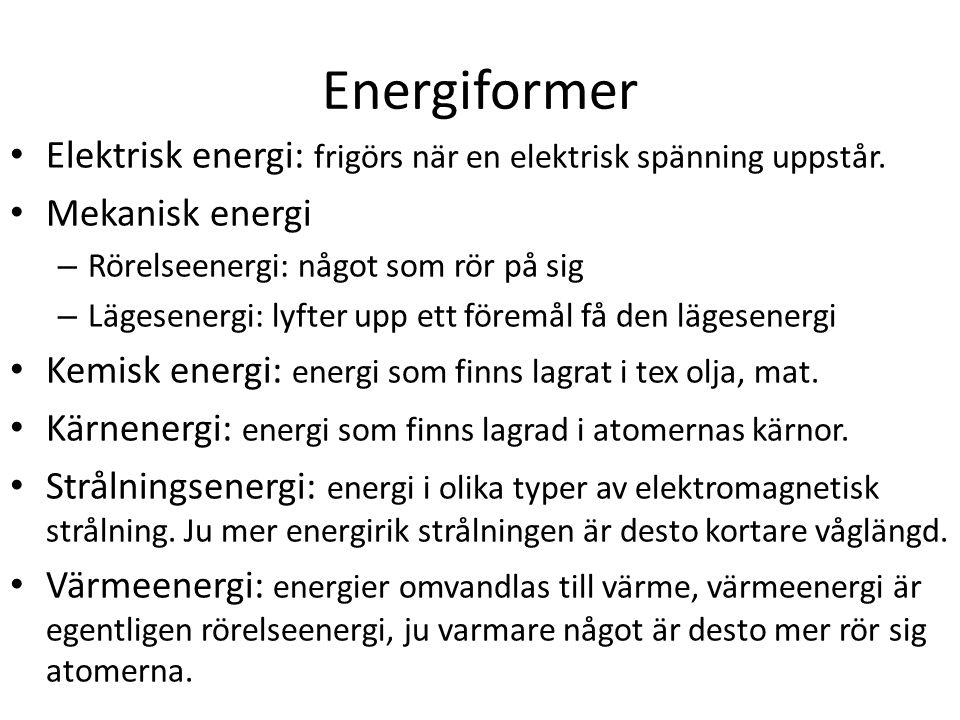 Energiformer Elektrisk energi: frigörs när en elektrisk spänning uppstår. Mekanisk energi. Rörelseenergi: något som rör på sig.