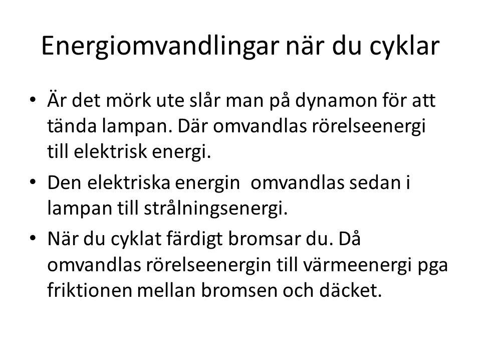 Energiomvandlingar när du cyklar