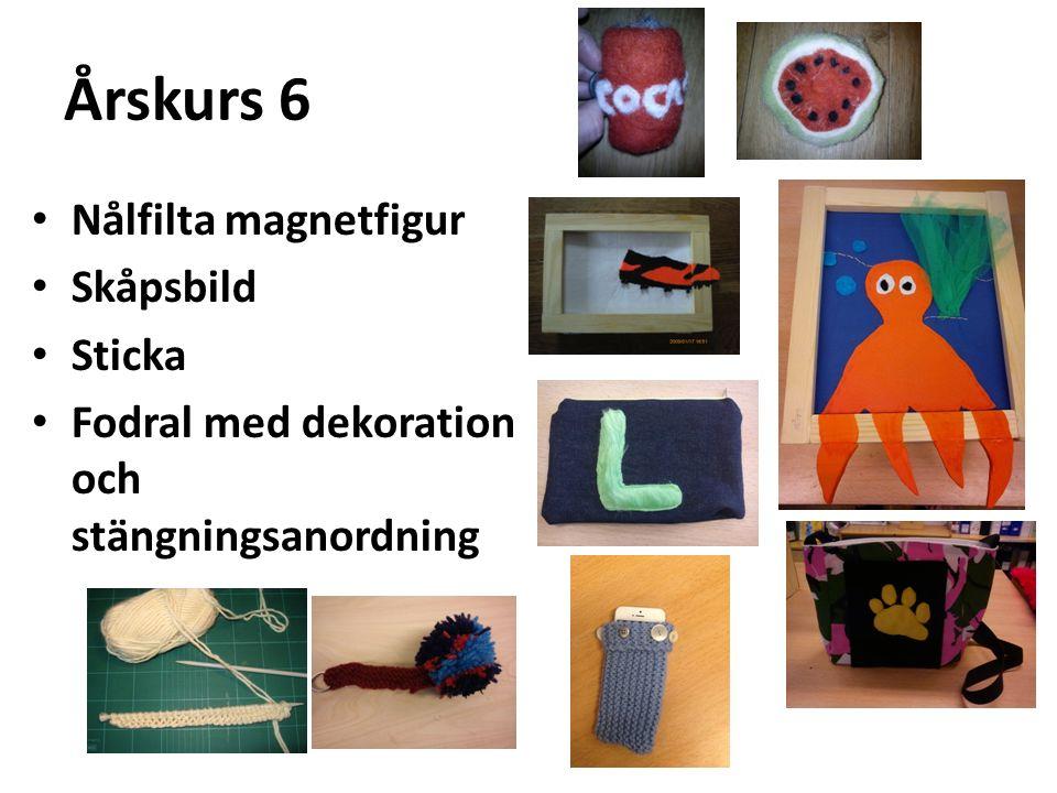 Årskurs 6 Nålfilta magnetfigur Skåpsbild Sticka