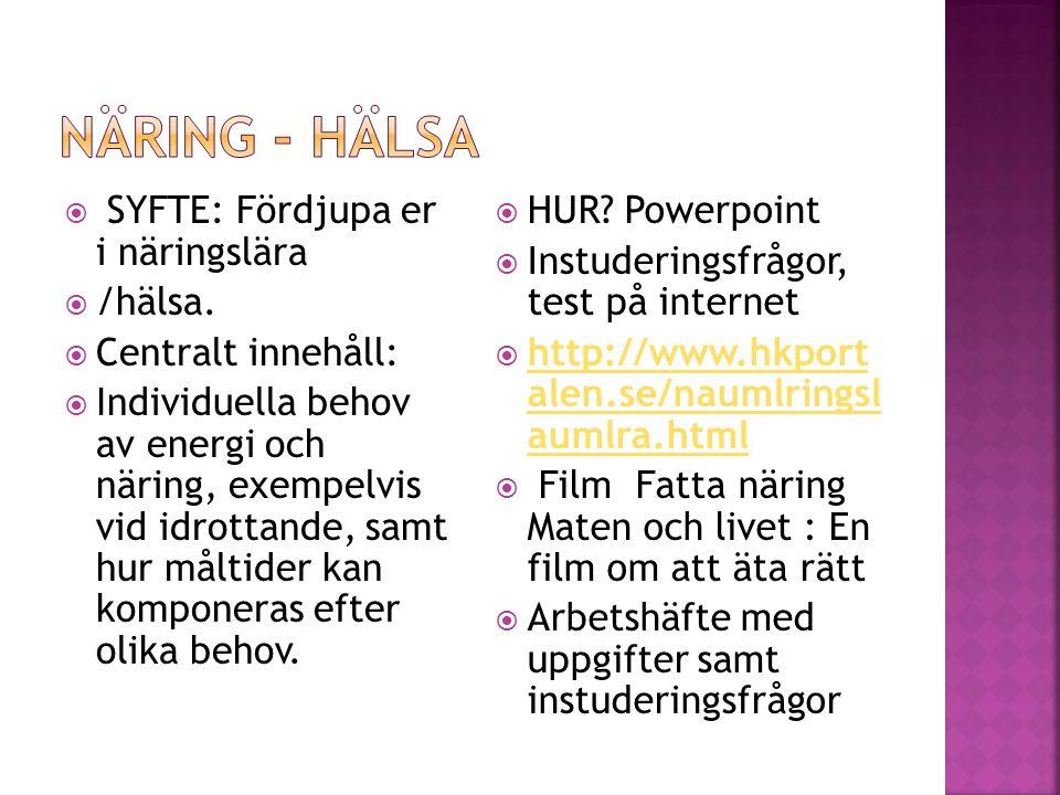 Näring - hälsa SYFTE: Fördjupa er i näringslära /hälsa.