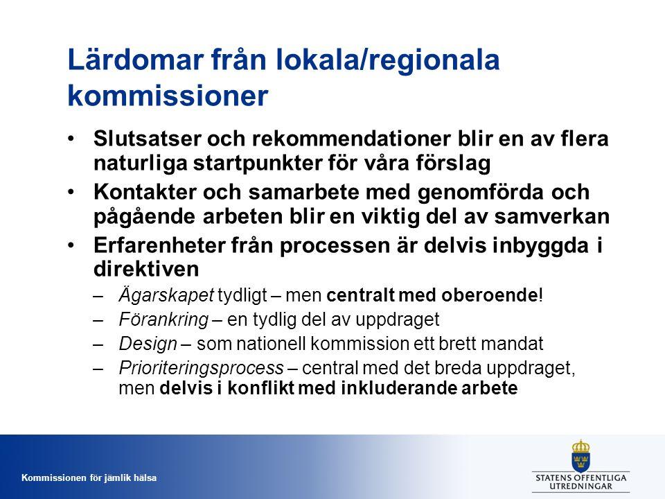 Lärdomar från lokala/regionala kommissioner