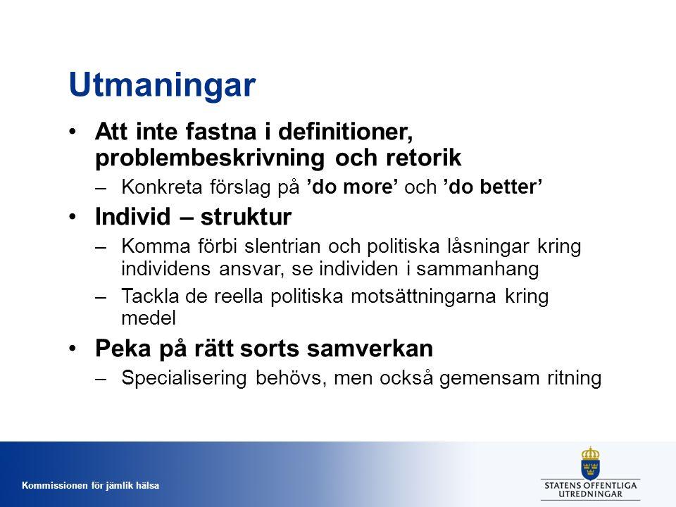 Utmaningar Att inte fastna i definitioner, problembeskrivning och retorik. Konkreta förslag på 'do more' och 'do better'