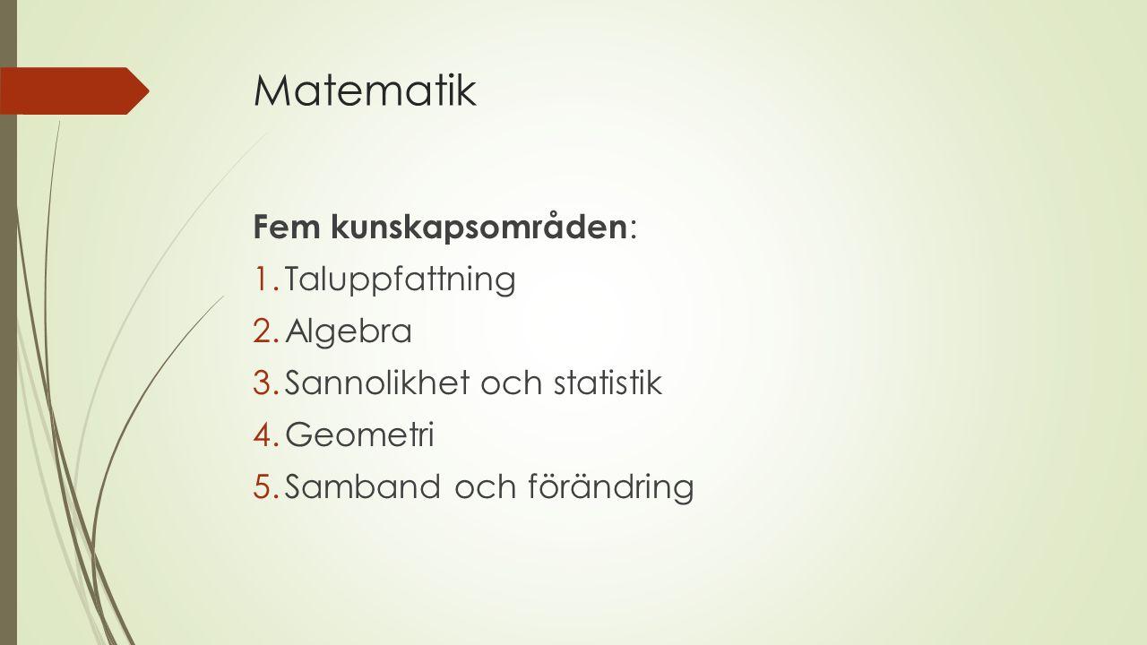 Matematik Fem kunskapsområden: Taluppfattning Algebra