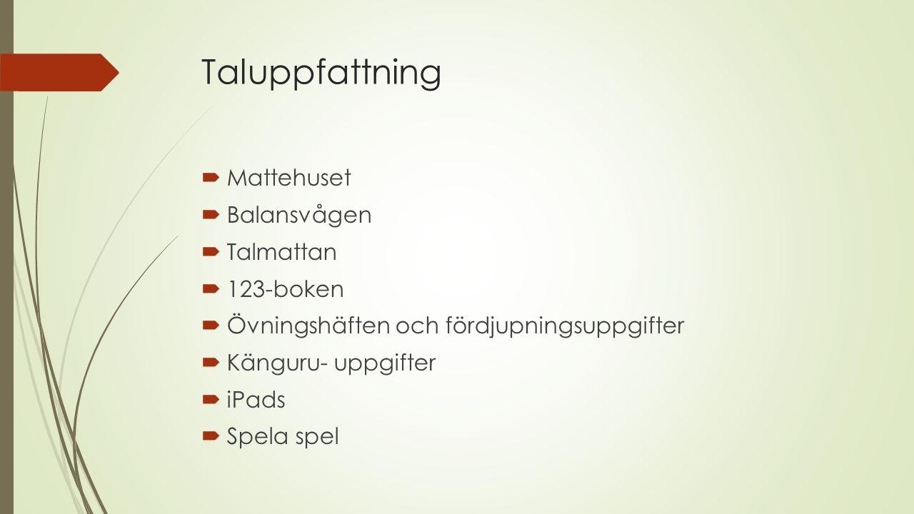 Taluppfattning Mattehuset Balansvågen Talmattan 123-boken