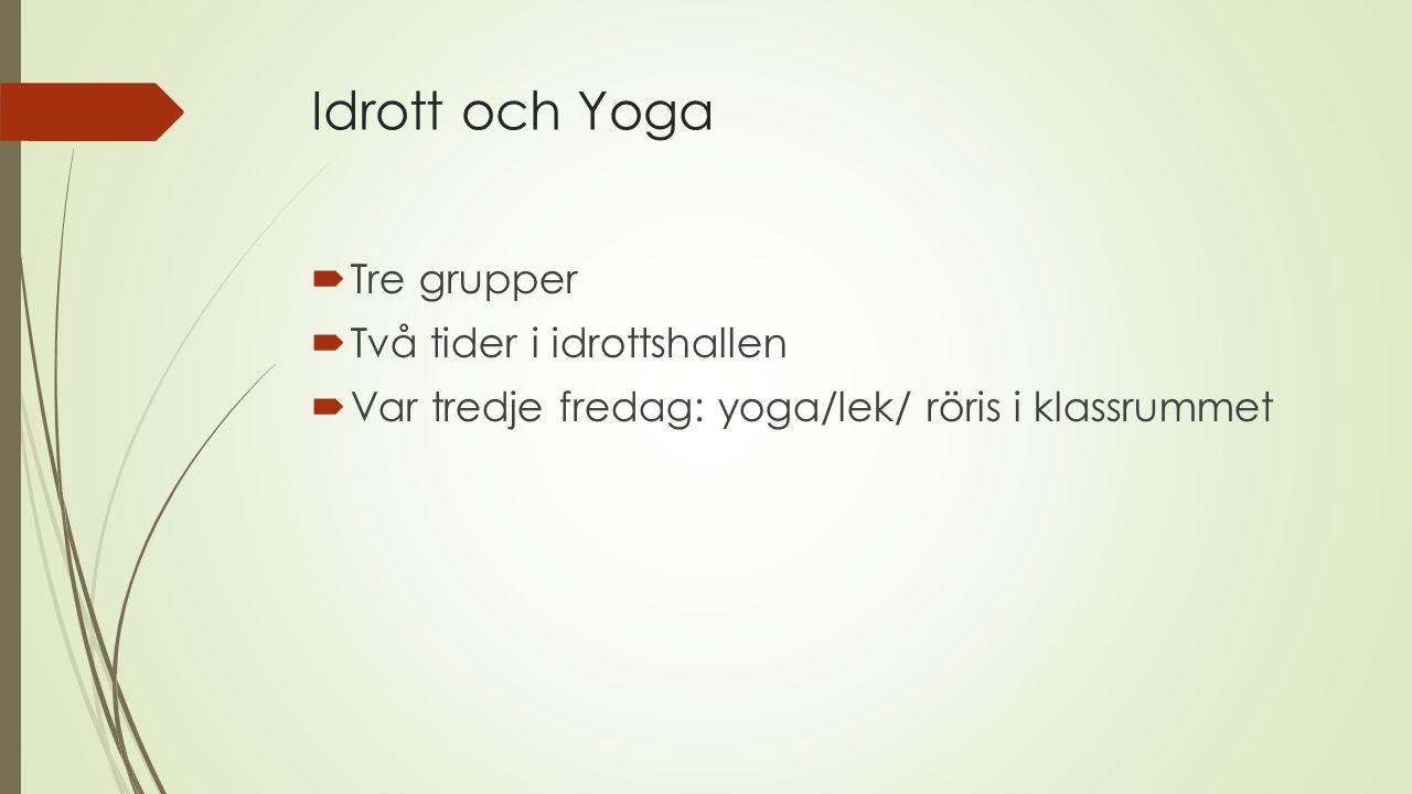 Idrott och Yoga Tre grupper Två tider i idrottshallen