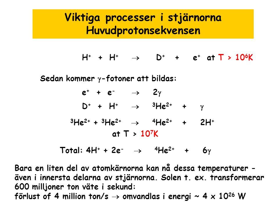 Viktiga processer i stjärnorna Huvudprotonsekvensen