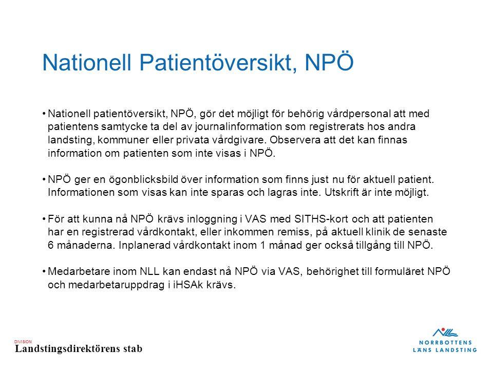 Nationell Patientöversikt, NPÖ