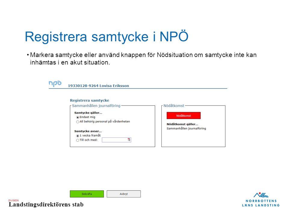 Registrera samtycke i NPÖ