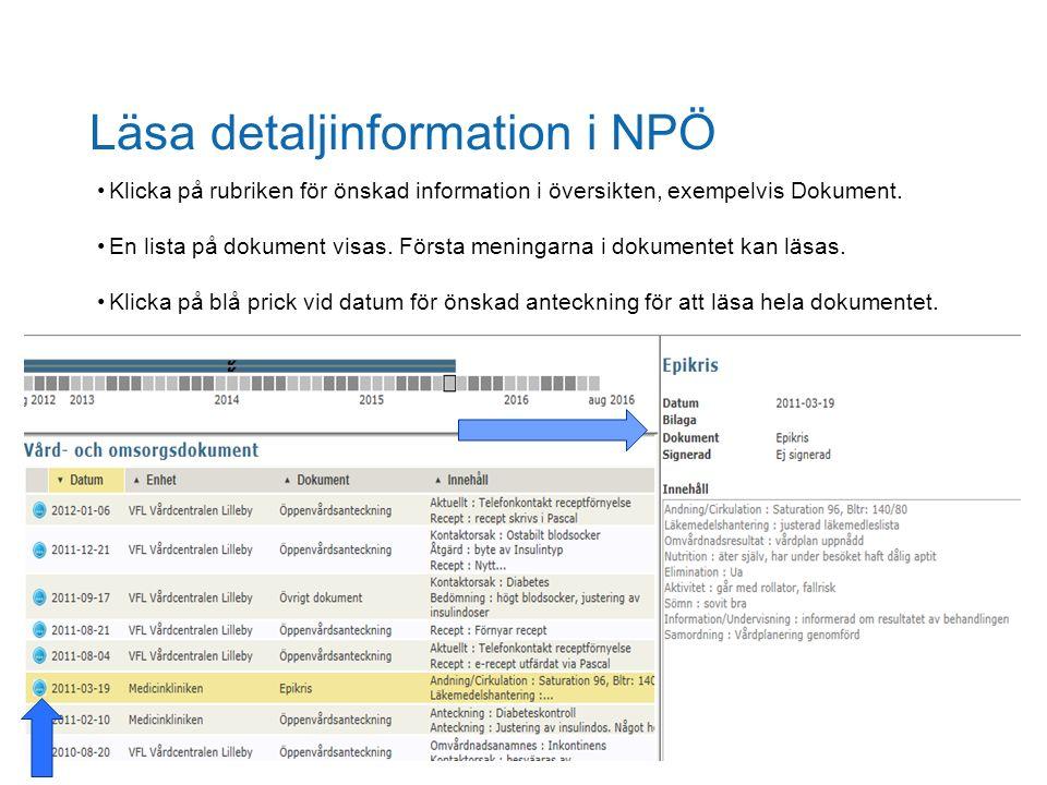 Läsa detaljinformation i NPÖ