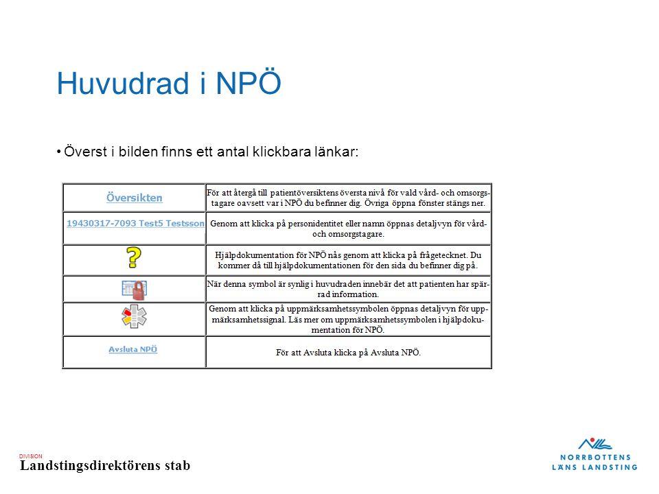 Huvudrad i NPÖ Överst i bilden finns ett antal klickbara länkar: