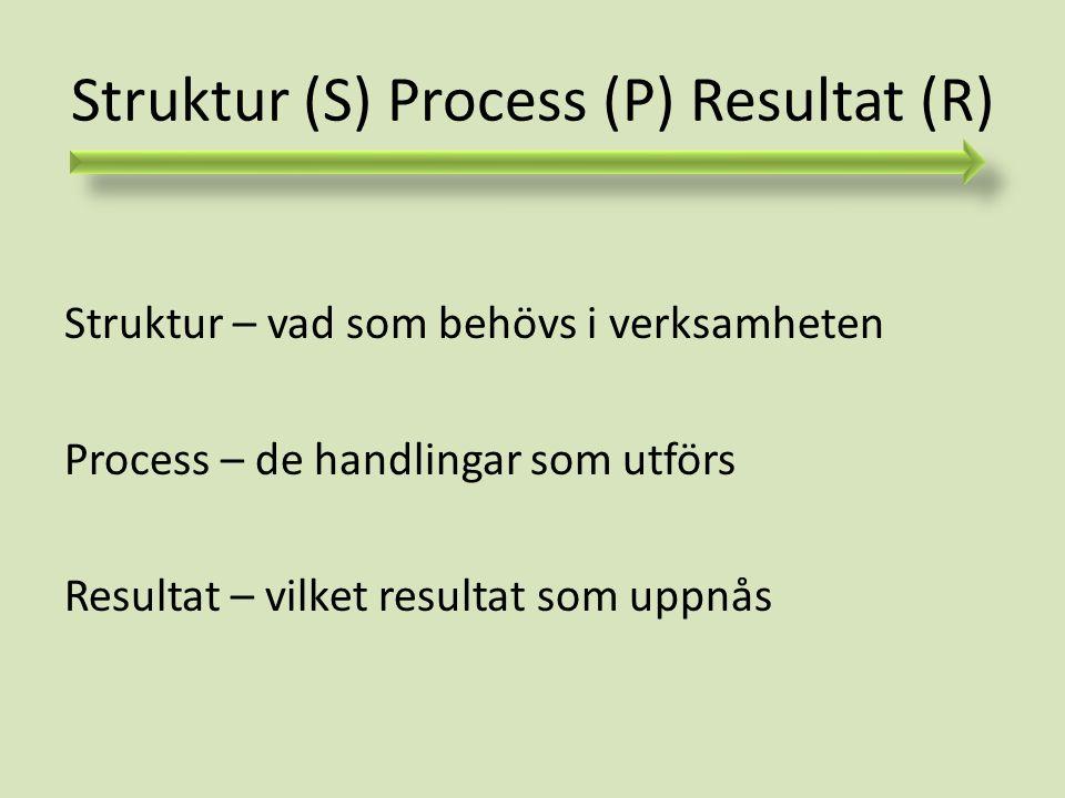 Struktur (S) Process (P) Resultat (R)