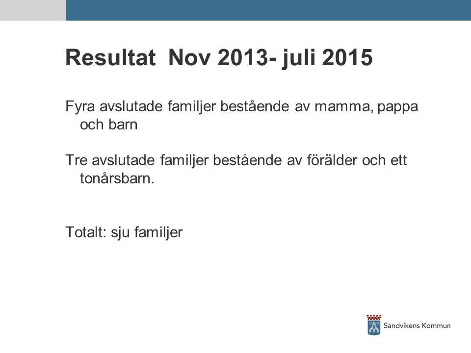 Resultat Nov 2013- juli 2015 Fyra avslutade familjer bestående av mamma, pappa och barn.