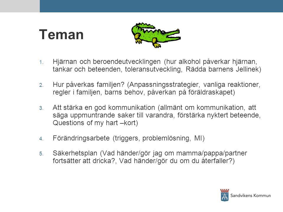 Teman Hjärnan och beroendeutvecklingen (hur alkohol påverkar hjärnan, tankar och beteenden, toleransutveckling, Rädda barnens Jellinek)