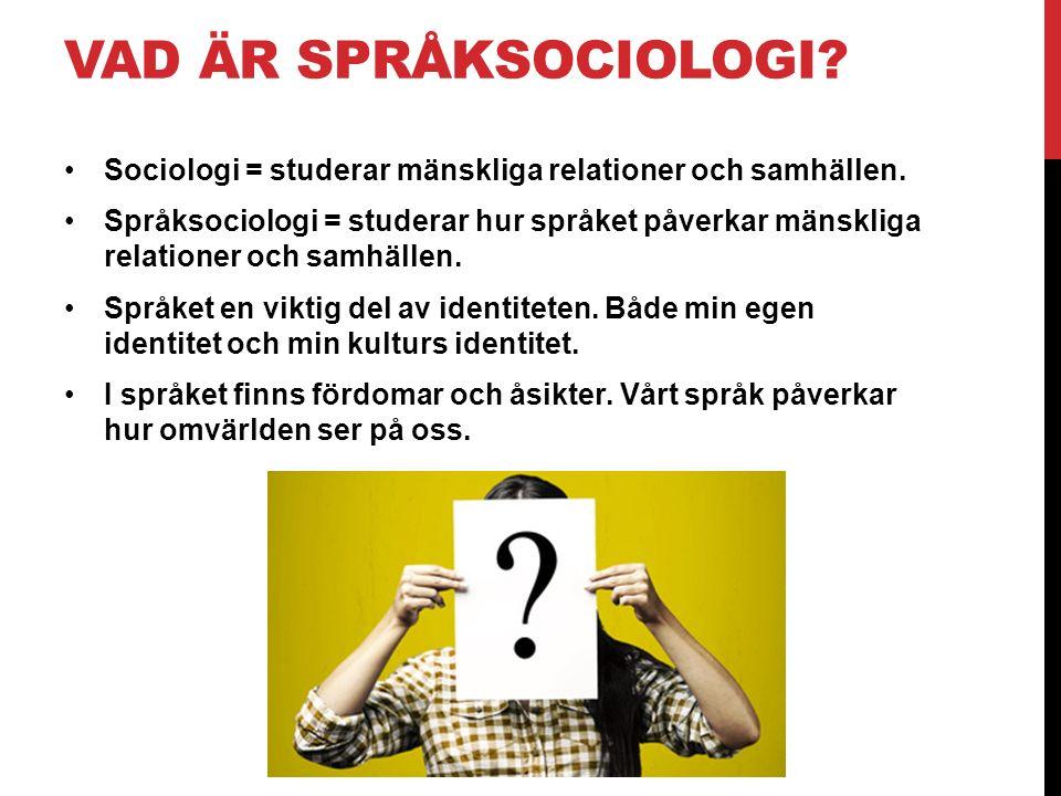 VAD ÄR SPRÅKSOCIOLOGI Sociologi = studerar mänskliga relationer och samhällen.