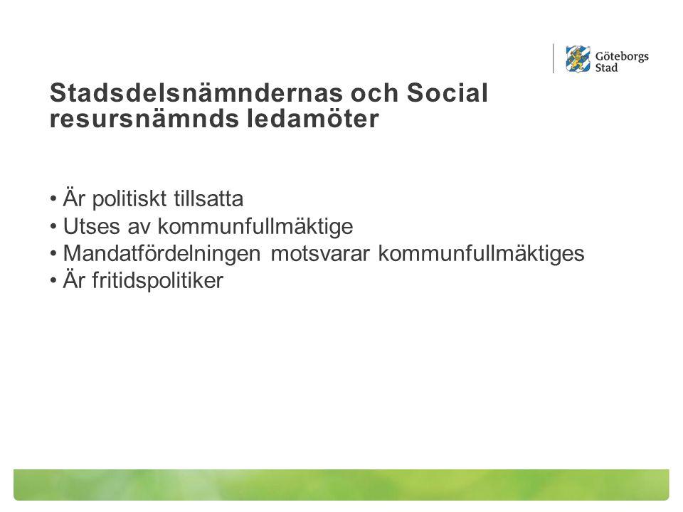 Stadsdelsnämndernas och Social resursnämnds ledamöter