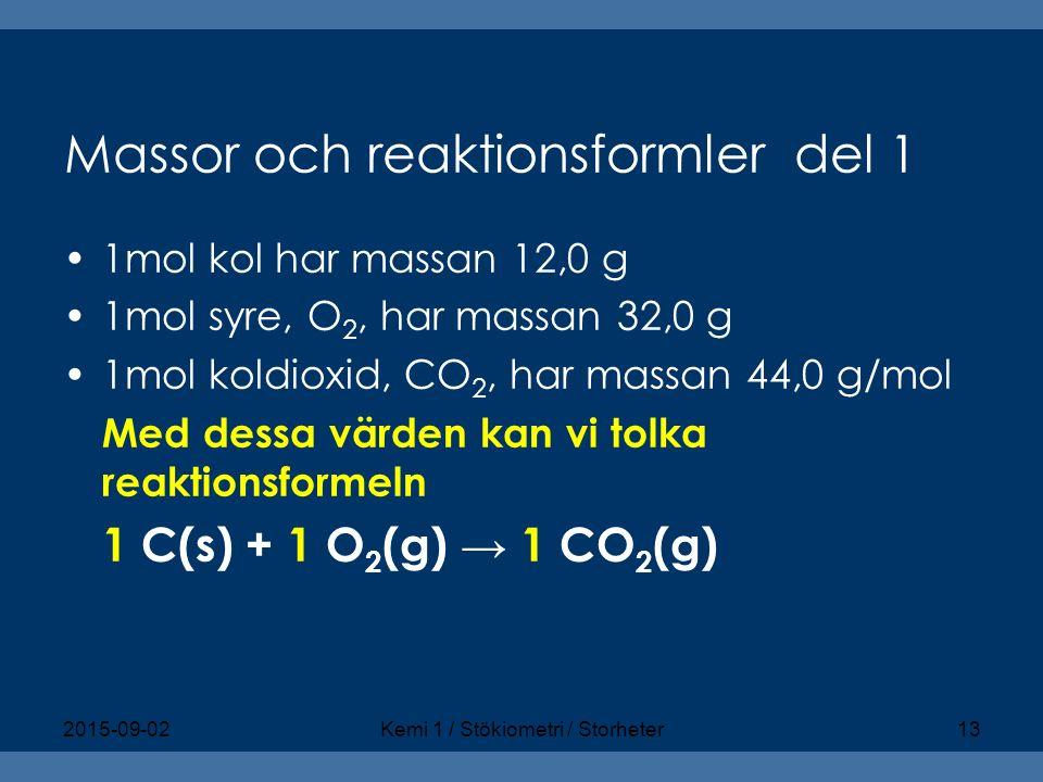 Massor och reaktionsformler del 1