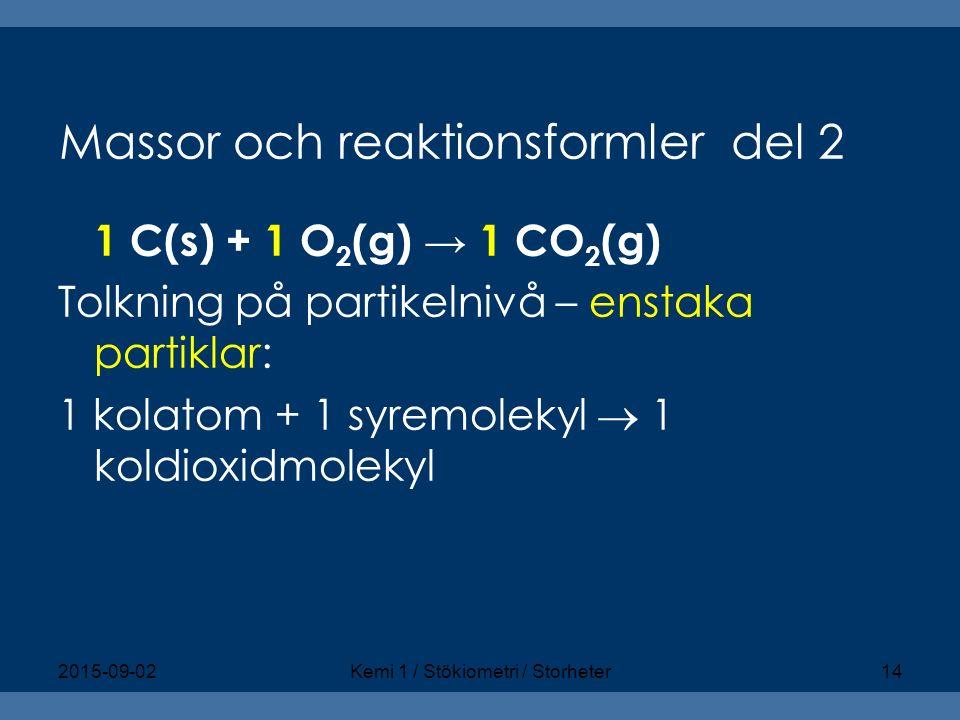 Massor och reaktionsformler del 2