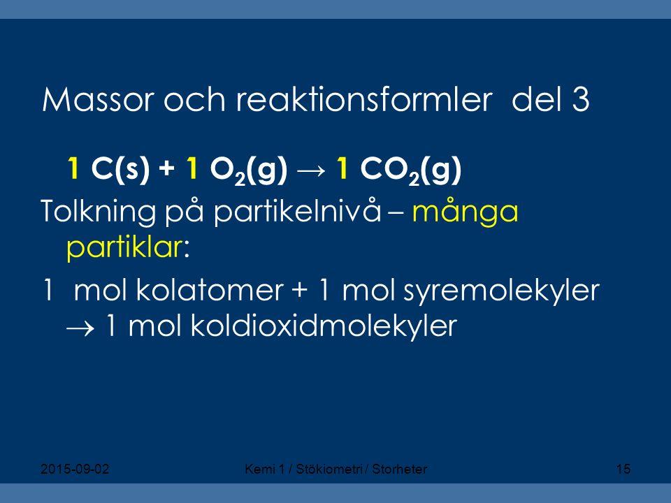 Massor och reaktionsformler del 3
