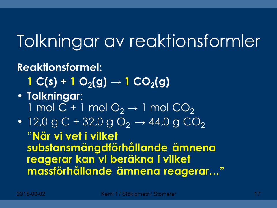 Tolkningar av reaktionsformler