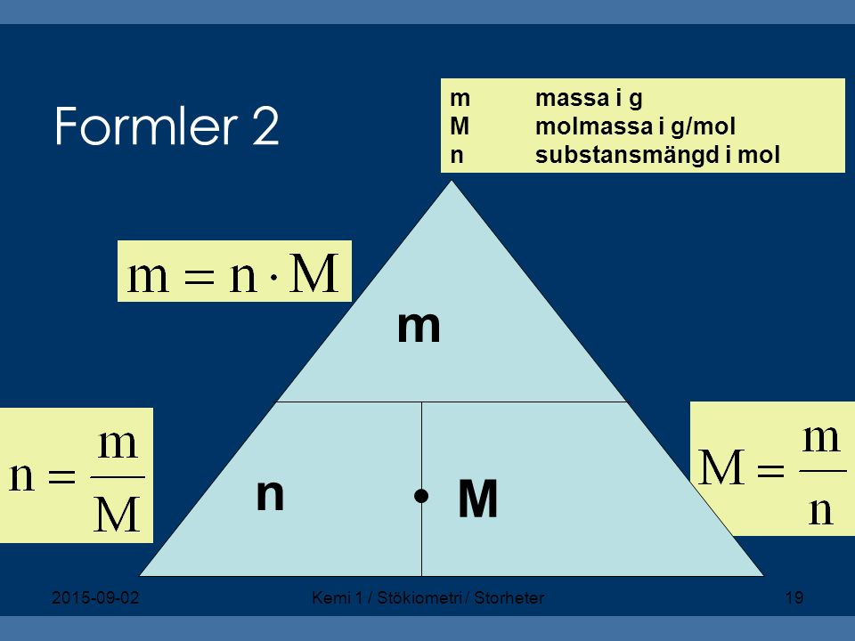 Kemi 1 / Stökiometri / Storheter