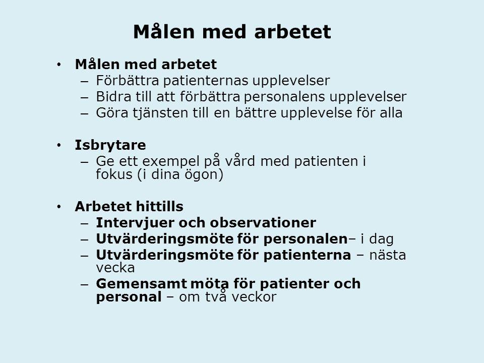 Målen med arbetet Målen med arbetet Förbättra patienternas upplevelser