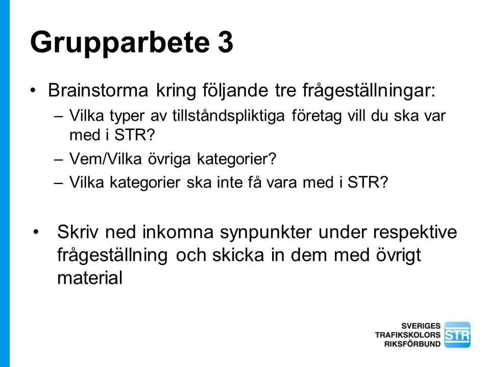 Grupparbete 3 Brainstorma kring följande tre frågeställningar: