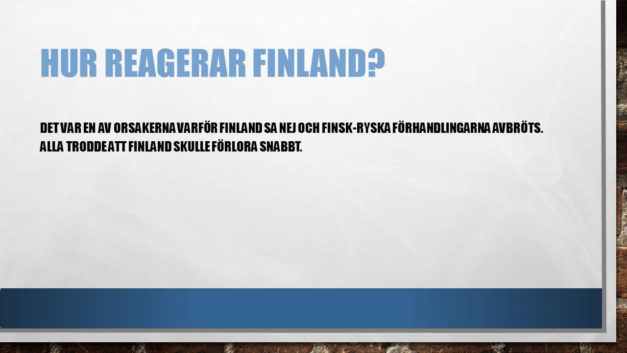 Hur reagerar Finland