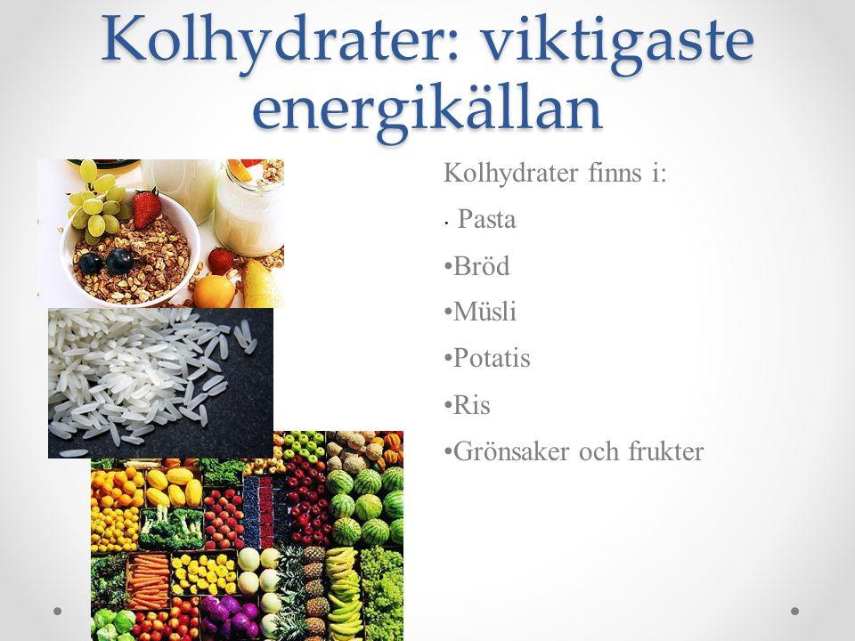 Kolhydrater: viktigaste energikällan