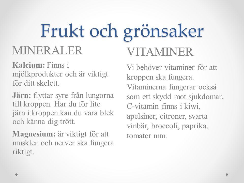 Frukt och grönsaker MINERALER VITAMINER