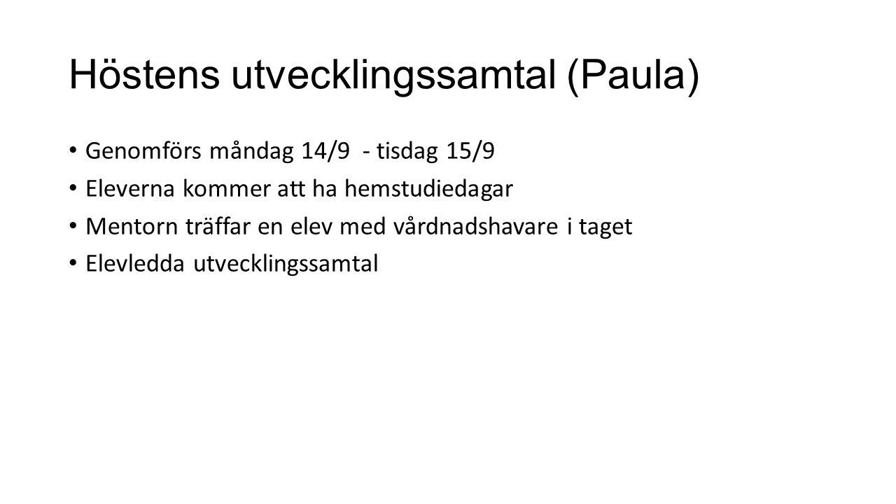 Höstens utvecklingssamtal (Paula)