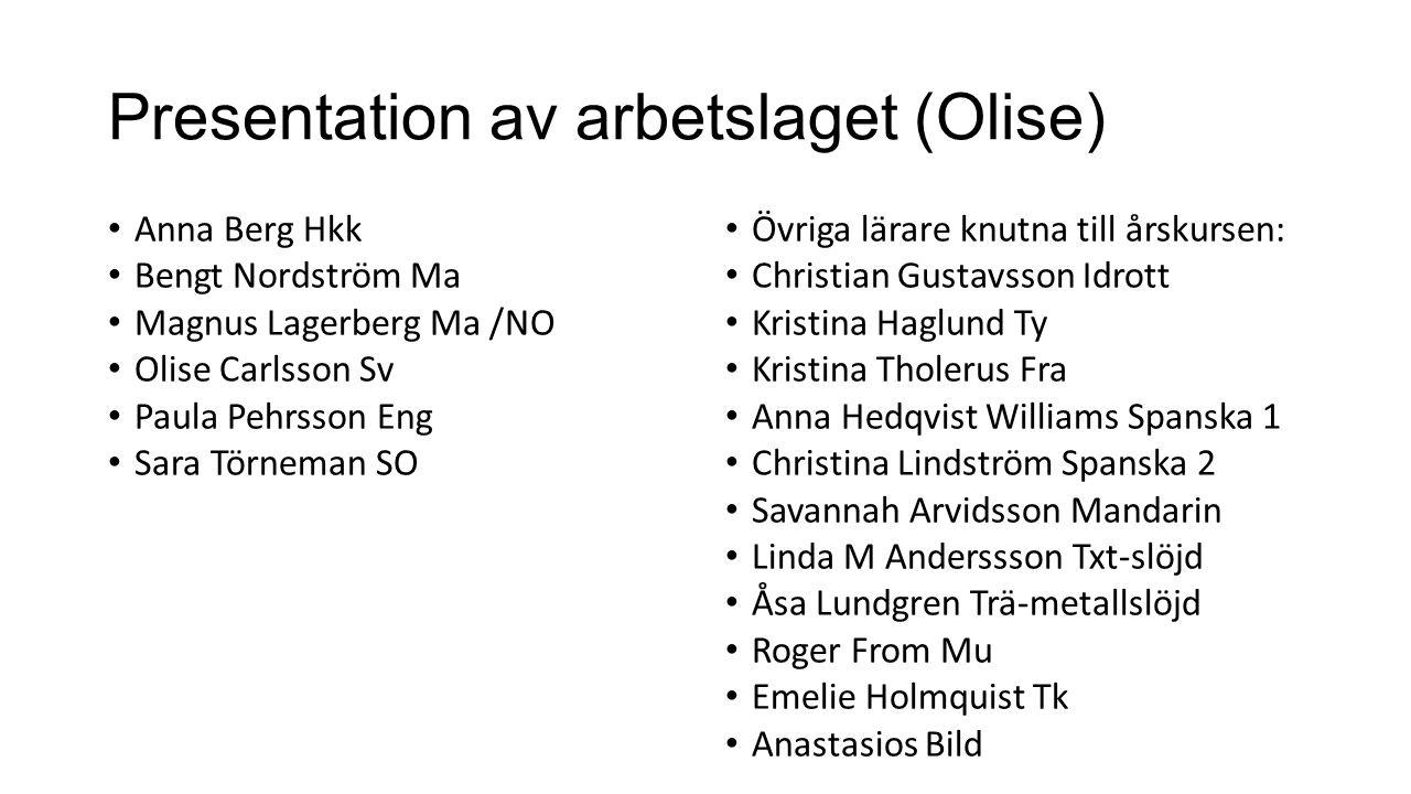 Presentation av arbetslaget (Olise)