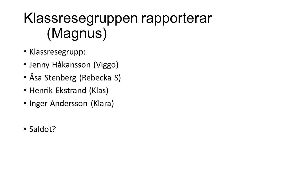 Klassresegruppen rapporterar (Magnus)