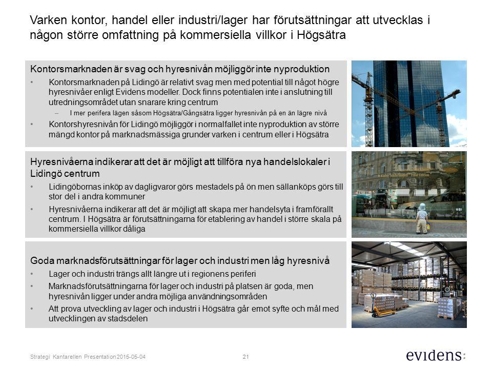 Varken kontor, handel eller industri/lager har förutsättningar att utvecklas i någon större omfattning på kommersiella villkor i Högsätra