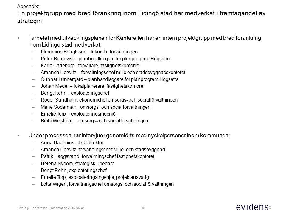 Appendix: En projektgrupp med bred förankring inom Lidingö stad har medverkat i framtagandet av strategin