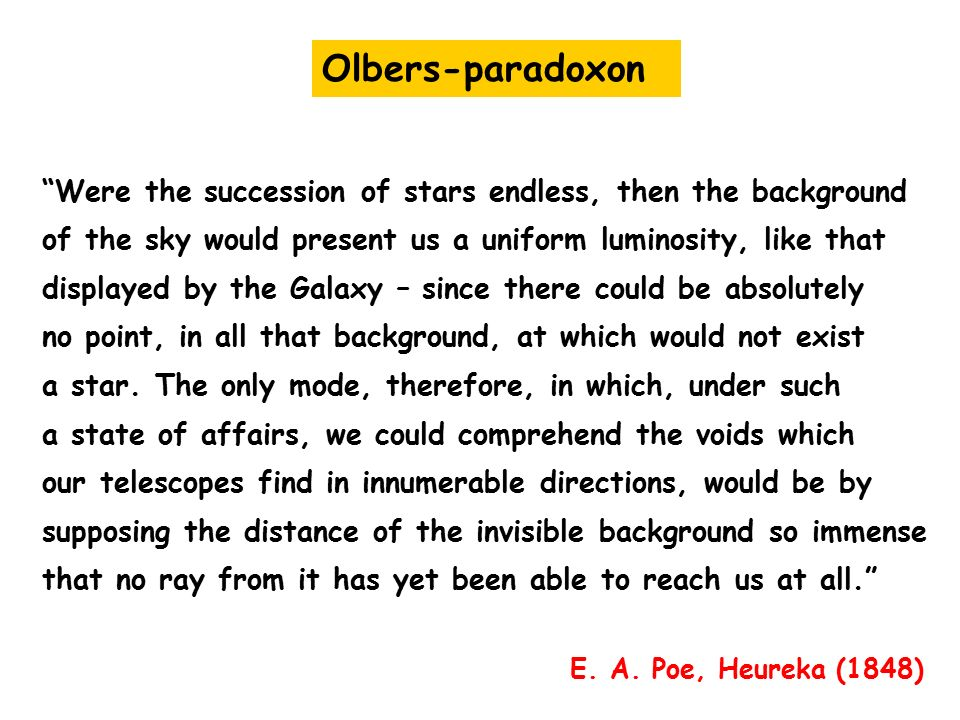Olbers-paradoxon Were the succession of stars endless, then the background. of the sky would present us a uniform luminosity, like that.