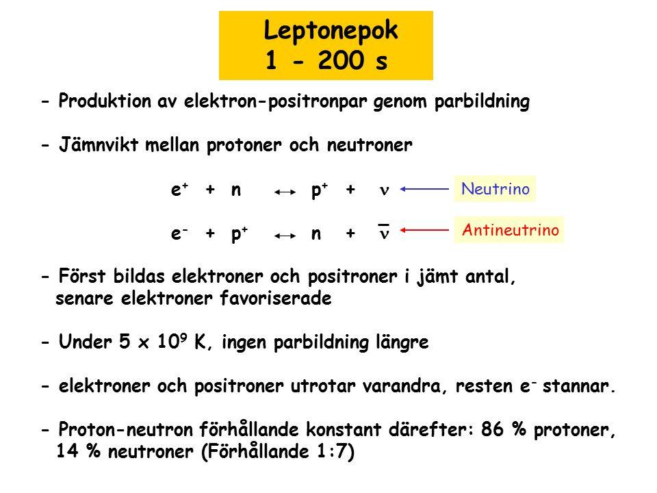 Leptonepok 1 - 200 s. - Produktion av elektron-positronpar genom parbildning. - Jämnvikt mellan protoner och neutroner.