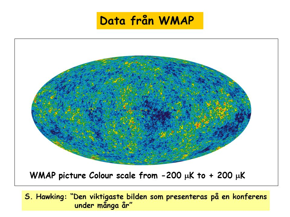 Data från WMAP WMAP picture Colour scale from -200 mK to + 200 mK