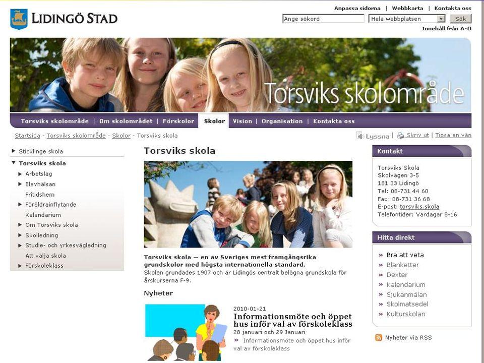 Informationskanaler Skolans hemsida - www.lidingo.se/torsvik